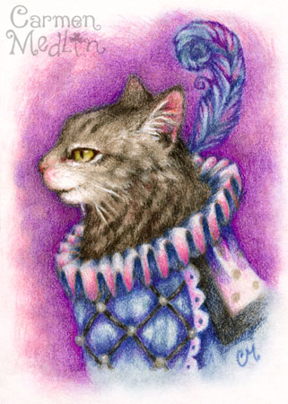 Dandy Tabby - cute cat art Carmen Medlin