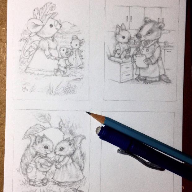 animal ACEO sketches Carmen Medlin