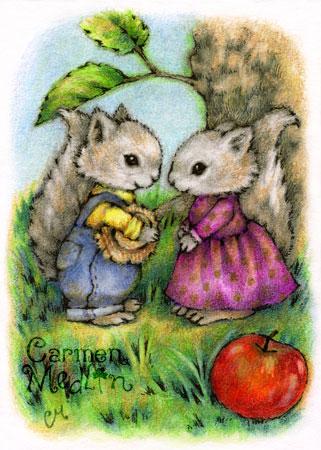 Squirrely Love - cute animal art Carmen Medlin