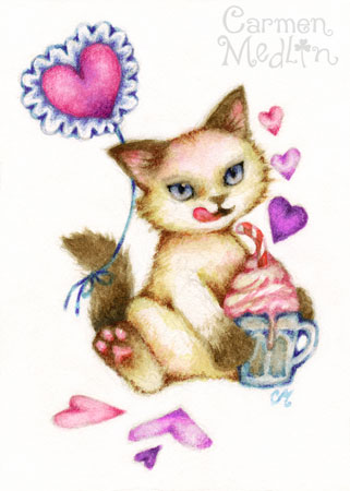 Strawberry Float - siamese cat art Carmen Medlin