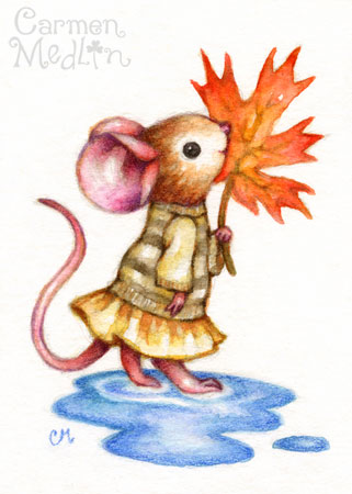 Sweet Autumn - cute mouse art Carmen Medlin