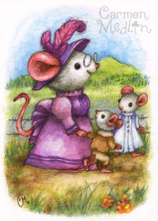 Walking with Grandma - cute mouse art Carmen Medlin