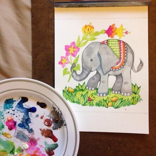 elephant gouache  illustration art Carmen Medlin