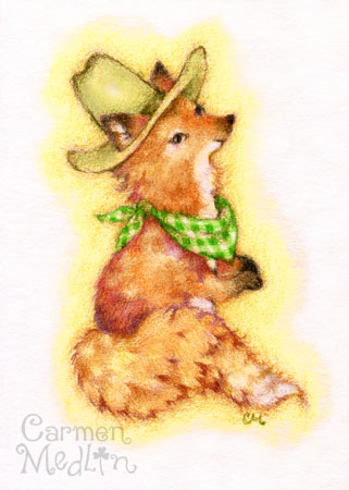 Howdy cute colored pencil fox art painting Carmen Medlin