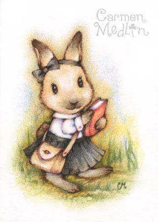 School Day cute colored pencil rabbit art painting Carmen Medlin