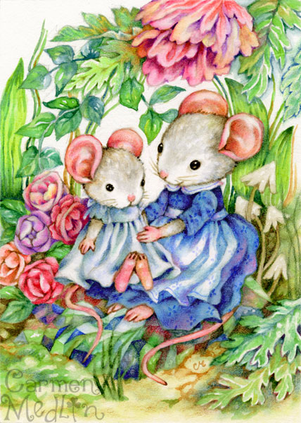 Sweet Baby cute watercolor animal art painting Carmen Medlin rabbits bunny