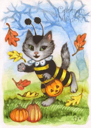 Bumblekitten Halloween cat art by Carmen Medlin