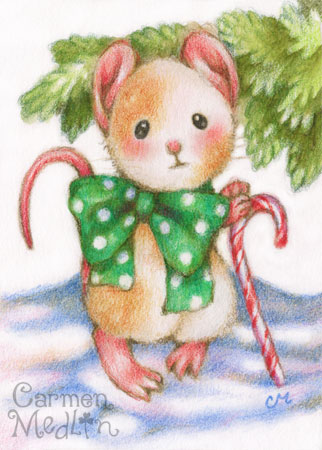 Dapper Christmas cute mouse art by Carmen Medlin