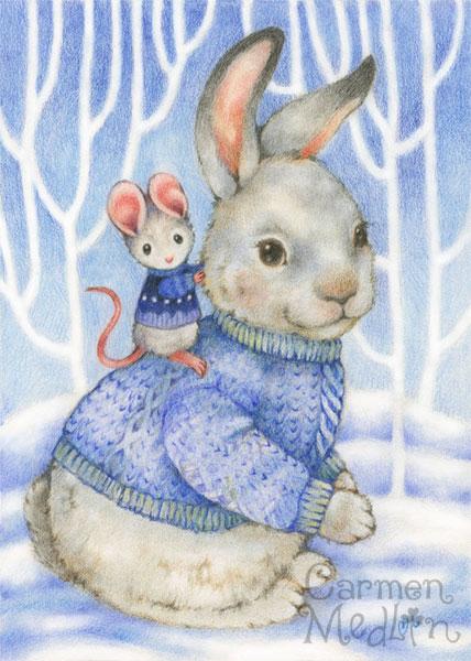 Friends in Blue cute animal art by Carmen Medlin