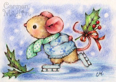 Holiday Skate mouse art by Carmen Medlin
