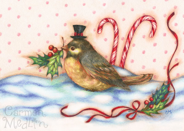 Holly Bird Christmas art by Carmen Medlin