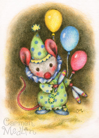 Juggler cute mouse art by Carmen Medlin