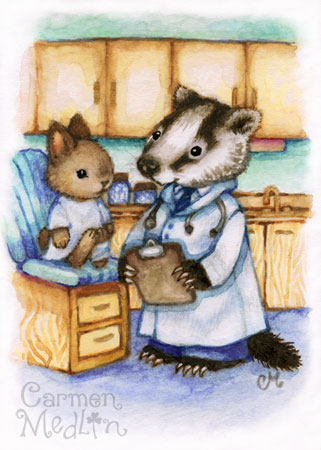 Checkup cute doctor nurse art by Carmen Medlin