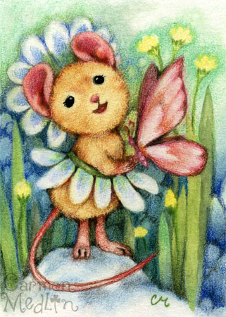 Daisy Dress cute mouse art Carmen Medlin