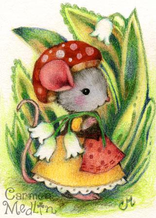 Mushroom Cap cute mouse art Carmen Medlin
