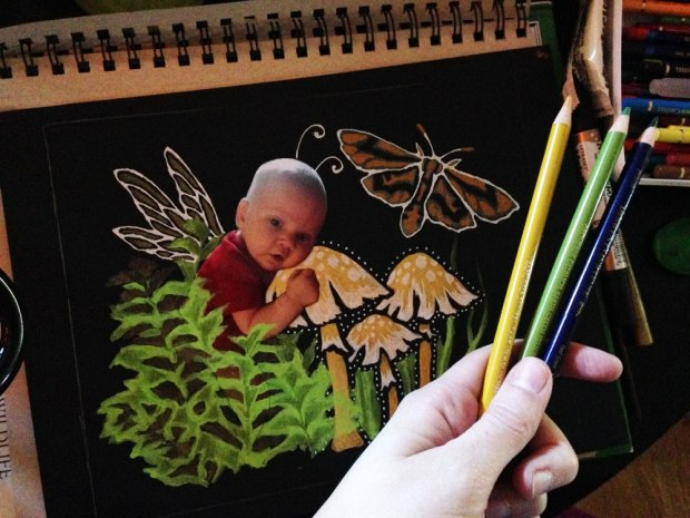 baby photo collage fairy tutorial crafter's workshop stencil medlin