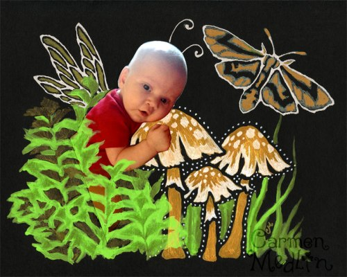 baby fairy photo collage carmen medlin mixed media crafter's workshop stencil tutorial