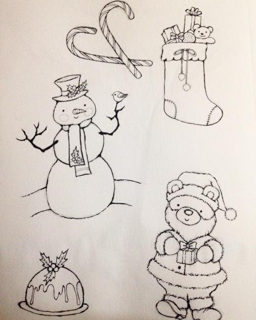 christmas art snowman figgy pudding santa medlin