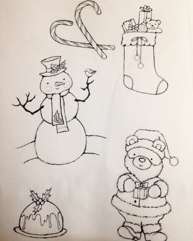 christmas art snowman figgy pudding santa medlin