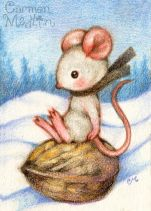 Sledding on a Walnut 2.5x3.5 Colored pencil on paper