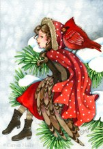 Winter Friends 5x7 Watercolor on paper