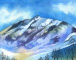 Wintery Mountain 8x10 Watercolor and colored pencil on paper