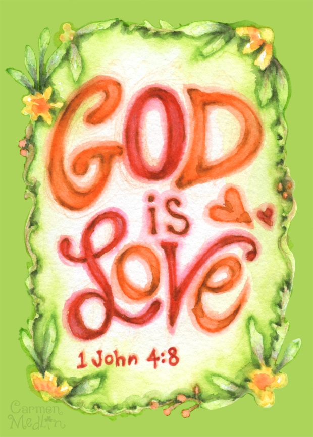 God Is Love Folk Frame stamp